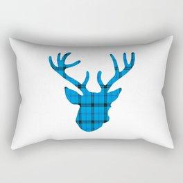 Plaid Deer Head: Blue Rectangular Pillow