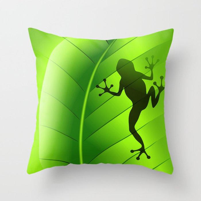 Outdoor Throw Pillows Kmart : Frog Shape on Green Leaf Throw Pillow by bluedarkatlem Society6