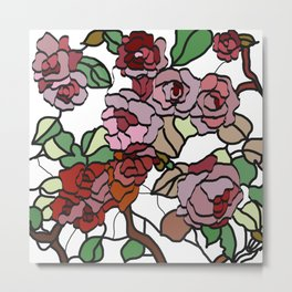 pattern of branches and roses . art Metal Print