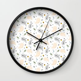 Paisley Pattern Happy Halloween Trick Or Treat  Wall Clock