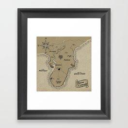 Mythos : Carte de la Pointe Australe Framed Art Print