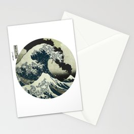 Great Wave Off Kanagawa Mt Fuji Eruption-Dark Blue Stationery Cards