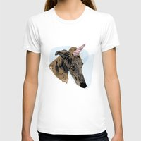 greyhound T-shirts featuring greyhound unicorn by Ingrid Winkler
