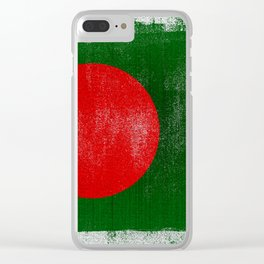 Bangladesh Distressed Halftone Denim Flag Clear iPhone Case