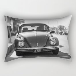 Hermosa Beach Surf Bug, Black and White Photography Print, Beach Art, South Bay Los Angeles Art Rectangular Pillow