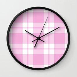 Gingham Plaid (Pastel Pink) Wall Clock