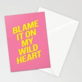 Blame it on my Wild Heart pink and yellow motivational typography poster bedroom wall home decor Stationery Cards