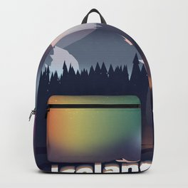 Iceland Northern lights travel poster Backpack