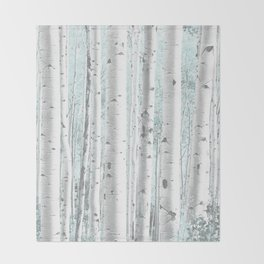 Pale Birch and Blue Throw Blanket
