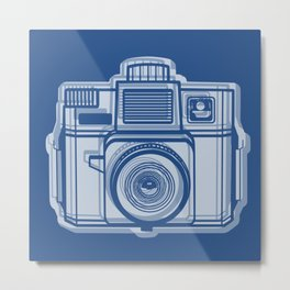 I Still Shoot Film Holga Logo - Reversed Blue Metal Print