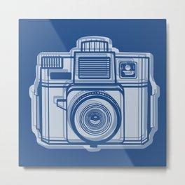I Still Shoot Film Holga Logo - Reversed Blue Metal Print