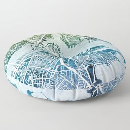 Boston Massachusetts Street Map Floor Pillow