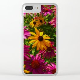 Coneflowers, Floral wall art, colorful flower blooms Clear iPhone Case