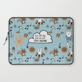 Fun Summer Beach Theme Pattern with Animal Illustration and Inspirational Hand Lettering Quote Laptop Sleeve