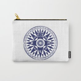 Nautical Compass | Vintage Compass | Navy Blue and White | Carry-All Pouch