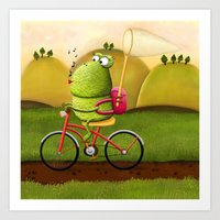 cycling Art Prints featuring Cycling by Rozalek