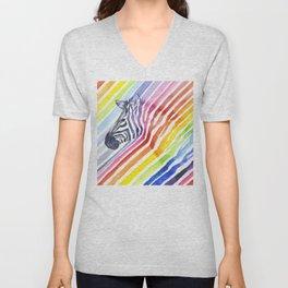 Animal Zebra Rainbow Unisex V-Neck
