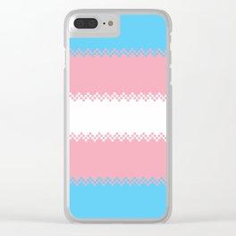 pixel pride- trans pride flag Clear iPhone Case