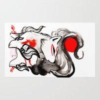 okami Area & Throw Rugs featuring Chibi Amaterasu Okami II by Rubis Firenos