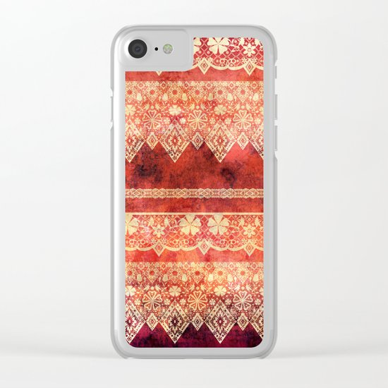 Retro . Vintage lace on a red background . Clear iPhone Case