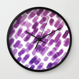 Purple Watercolor Brush Strokes Abdtraction Wall Clock