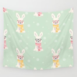 White rabbit Christmas pattern 001 Wall Tapestry