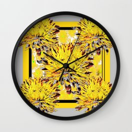 Abstracted Grey-Yellow Chrysanthemums Floral Wall Clock