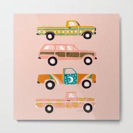 Retro Roads – Pink Palette Metal Print