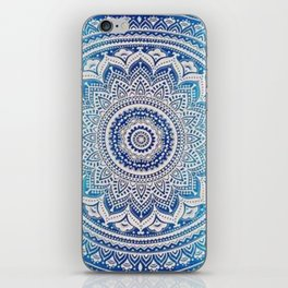 Teal And Aqua Lace Mandala iPhone Skin