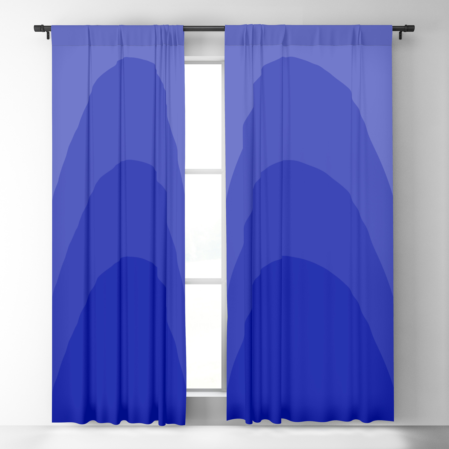 Four Shades Of Blue Curved Blackout Curtain By Shelleyylstart Society6