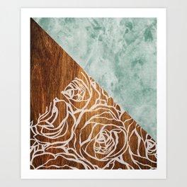 Wood + Geometric Pattern Art Print