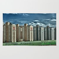 korean Area & Throw Rugs featuring View from a Korean Bullet Train by Anthony M. Davis