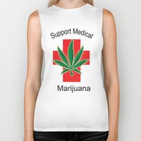 medical Biker Tanks featuring Support Medical Marijuana by BudProducts.us