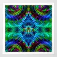 psychedelic blue green Art Print