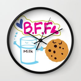 Milk and Choco chip cookie BFF Wall Clock