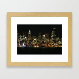 Seattle Skyline - Alki (Blue Spinning Wheel) Framed Art Print