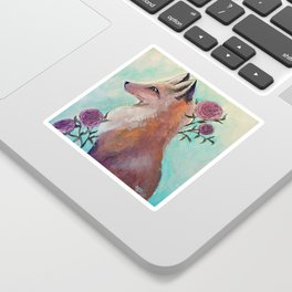 Fox in Flowers Sticker
