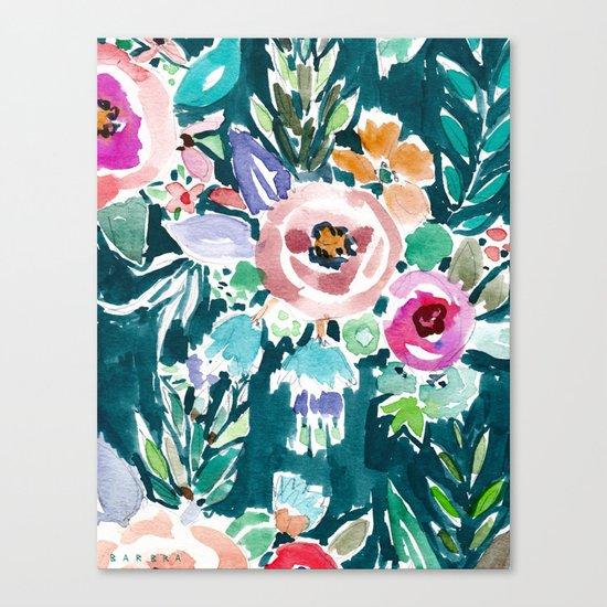 EFFUSIVE FLORAL Dark & Colorful Boho Pattern Canvas Print