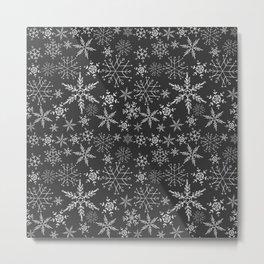 Black Snowflakes Metal Print
