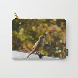 Little Bird Sitting On A Bench Carry-All Pouch