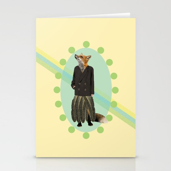 classy feather fox Stationery Cards