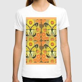YELLOW MONARCH BUTTERFLY & ORANGES MODERN ART T-shirt