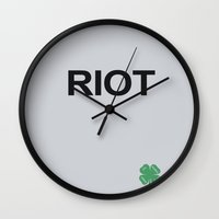always sunny Wall Clocks featuring Riot / Always Sunny / In Philadelphia by Earl of Grey