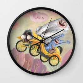 Monsters in Yellow Vintage Car Wall Clock