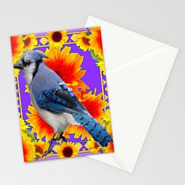 YELLOW SUNFLOWERS & BLUE JAY PURPLE ART Stationery Cards