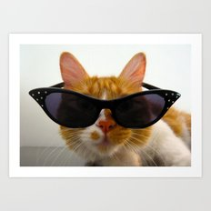 Cool Cat Wearing Sunglasses  Art Print
