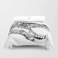 t rex Duvet Covers featuring T Rex by Cherry Virginia