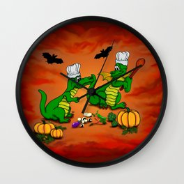 Today I will cook , Dragons - Happy Halloween ! Wall Clock