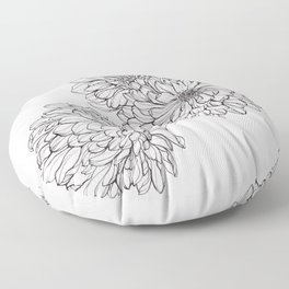 Ink Illustration of Summer Blooms Floor Pillow