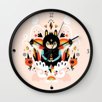 queen Wall Clocks featuring Rainbow Queen by Muxxi